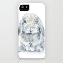 Mini Lop Gray Rabbit Watercolor Painting iPhone Case