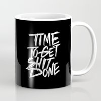 get shit done Mugs featuring get shit done // dark by Brooke White