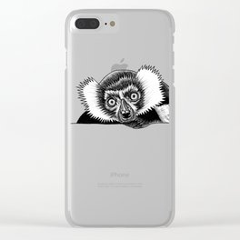 Black and white ruffed lemur Clear iPhone Case