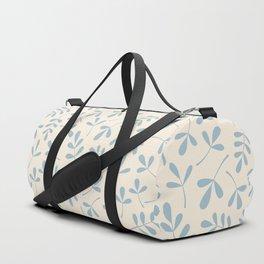 Assorted Leaf Silhouettes Blue on Cream Duffle Bag