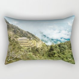 Lost City | Landscape Photography of Historical Incan City with Terraces in Peru Mountains Rectangular Pillow