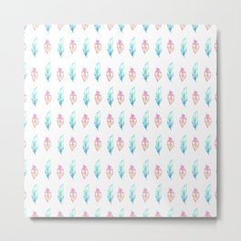 Blush pink teal watercolor hand painted feathers Metal Print