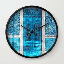 Vintage Blue Door Portugal - For Doors & Travel Lovers Wall Clock