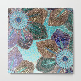 Aqua Green Brown and Blue Faux Glitter Flowers on #Society6 Metal Print
