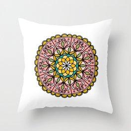 Mandala: Pink Throw Pillow