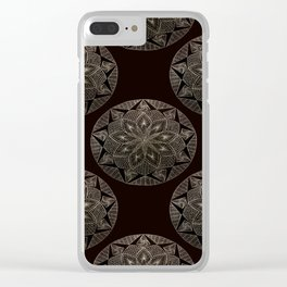 Maroon Mandala Pattern Clear iPhone Case