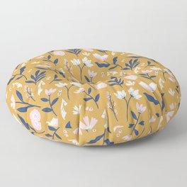 Mustard Floral Pattern Floor Pillow