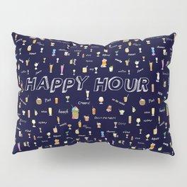 Happy Hour Cocktails and Brews on Dark Blue Pillow Sham