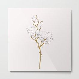 Magnolia botanical illustration - Fran Metal Print