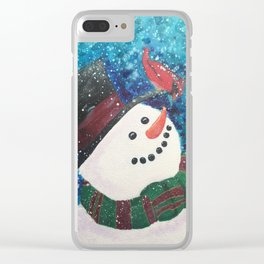 Snowy Hello Clear iPhone Case