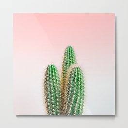 Modern colorful tropical cactus photography with pastel pink gradient Metal Print