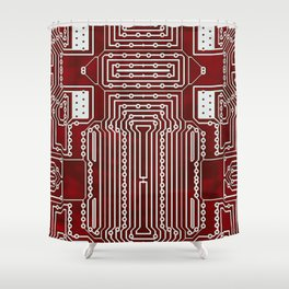 Red Geek Motherboard Circuit Pattern Shower Curtain