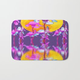 PURPLE-WHITE IRIS & MOON WATER GARDEN  REFLECTION Bath Mat