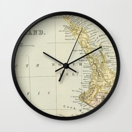 Vintage Map of New Zealand Wall Clock