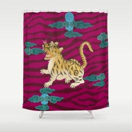 FOO TIGER ON MAGENTA Shower Curtain