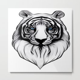 White Tiger with Blue Eyes Metal Print