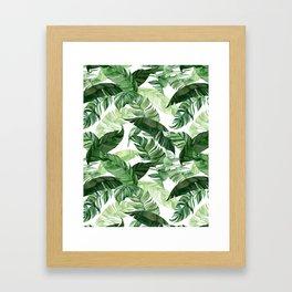 Green leaf watercolor pattern Framed Art Print