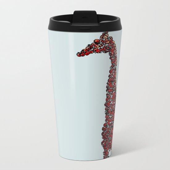 Red Giraffe Metal Travel Mug