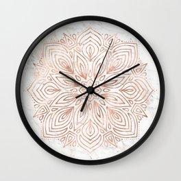 Mandala Rose Gold Quartz on Marble Wall Clock