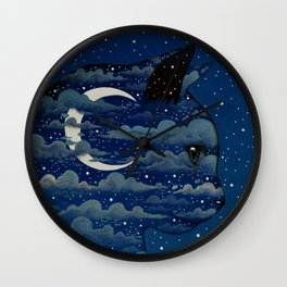 LUNA CAT by Raphaël Vavasseur Wall Clock