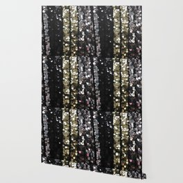 Sequins in Black, Gold and Silver Wallpaper