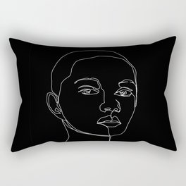 Face one line black and white illustration - Cody Rectangular Pillow