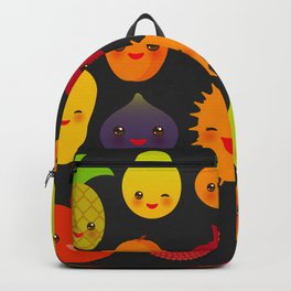 kawaii fruit Pear Mangosteen tangerine pineapple papaya persimmon pomegranate lime Backpack