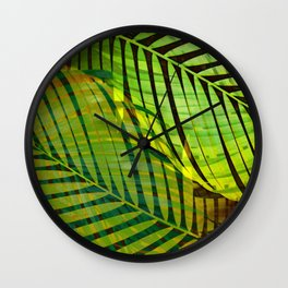 TROPICAL GREENERY LEAVES no1 Wall Clock