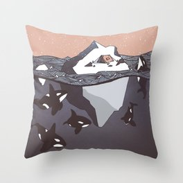 Pod of Orca (Killer Whales) spying on a small tent on an iceberg, under snowy pink sky Throw Pillow
