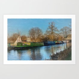 Canal Boats And A Teepee Art Print