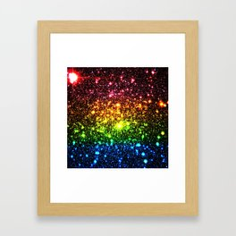 Rainbow Sparkle Galaxy Stars Framed Art Print