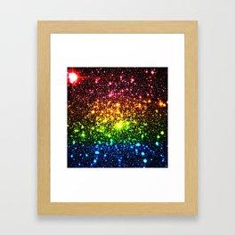Rainbow Sparkle Galaxy Stars Framed Art Print