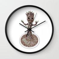 groot Wall Clocks featuring Baby Groot by Megan Yiu