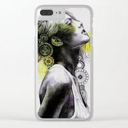Burnt By The Sun (street art woman portrait with mandalas) Clear iPhone Case
