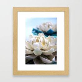 Flowers on the pond Framed Art Print