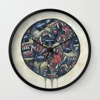 anxiety Wall Clocks featuring Anxiety by Mallory Hodgkin