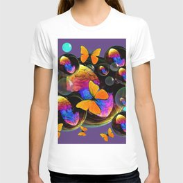 COLORFUL FUN  BUBBLES & YELLOW BUTTERFLIES PURPLE FANTASY T-shirt