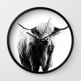 Newspaper Print Style Highland Cow. Scotland, Bull, Horns. Wall Clock