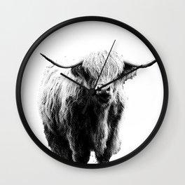 Newspaper Print Style Highland Cow. Scotland, Bull, Horns. Wall Clock