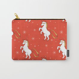 cute cartoon christmas pattern background with unicorn with santa hat Carry-All Pouch