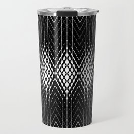 Geometric Black and White Diamond Scales Pattern Travel Mug
