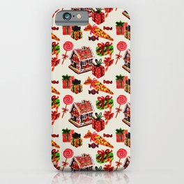 Christmas Vintage Family House Candy Cane Gingerbread iPhone Case