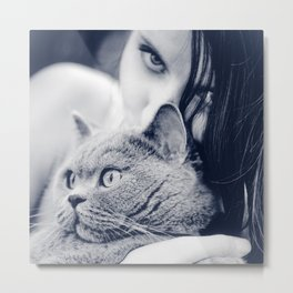 Girl and her cat Metal Print