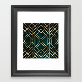 Dark Teal Geo Framed Art Print