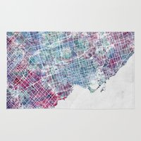 toronto Area & Throw Rugs featuring Toronto map by MapMapMaps.Watercolors