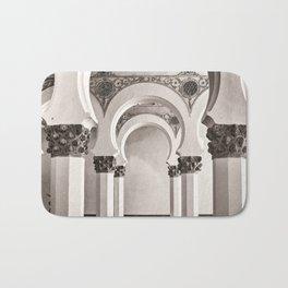 The Historic Arches in the Synagogue of Santa María la Blanca, Toledo Spain Bath Mat