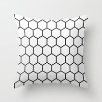 hexagon Throw Pillows featuring Hexagon by Thomas Official