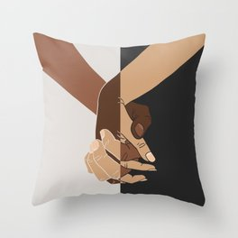 Tenderness against racism-Interlaced hands-Love without prejudice Throw Pillow