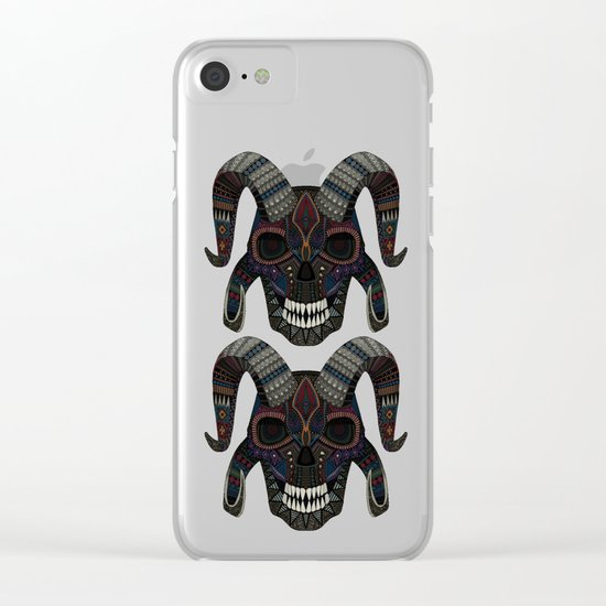 demon skull heather Clear iPhone Case