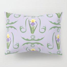Iris Flowers Illustrated Pattern Purple Green Yellow Summer Garden Pillow Sham